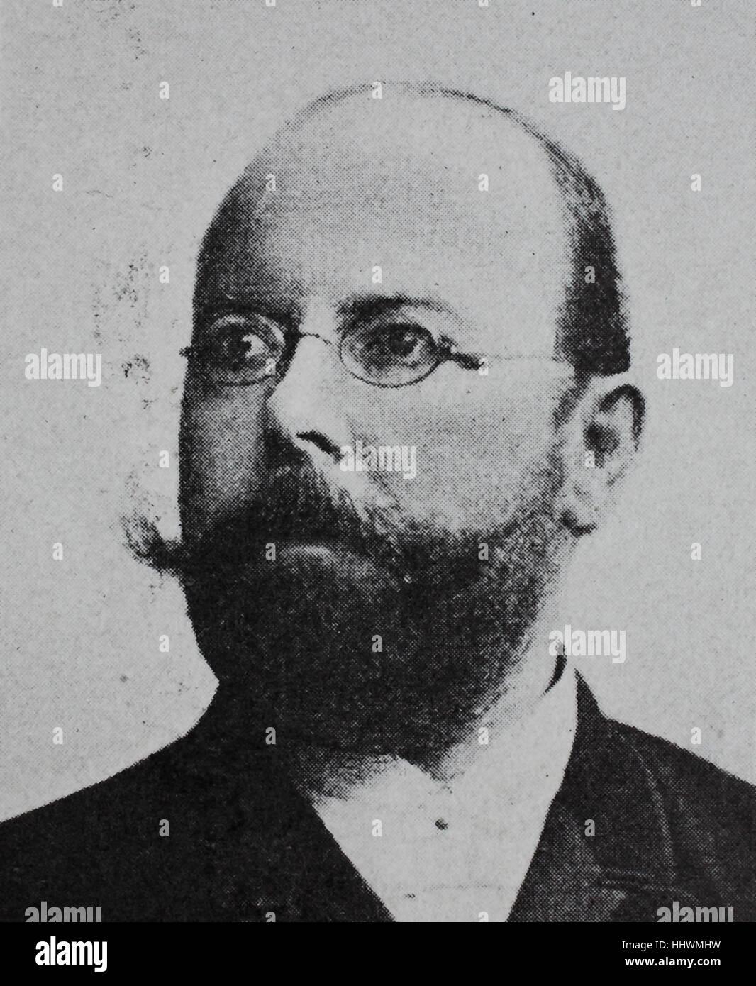 Friedrich August Johannes Loeffler, 1852 - 1915, German bacteriologist, historical image or illustration, published Stock Photo