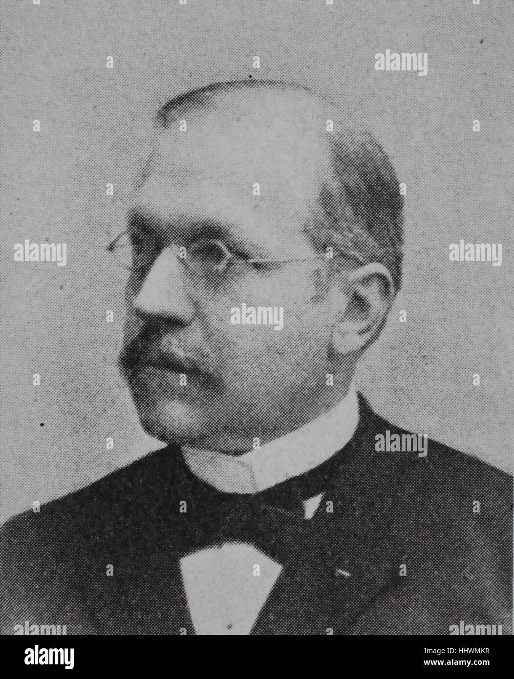 Josef Forster, 1844 - 1910, german doctor and hygiene scientist, historical image or illustration, published 1890, - Stock Image