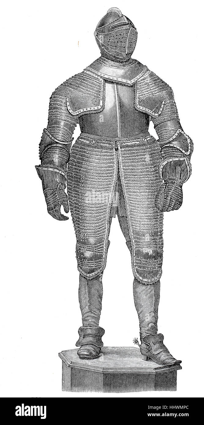 Black armor of the Imperial General of Cavalry Johann Graf Sporck from the time of the Thirty Years' War, historical - Stock Image
