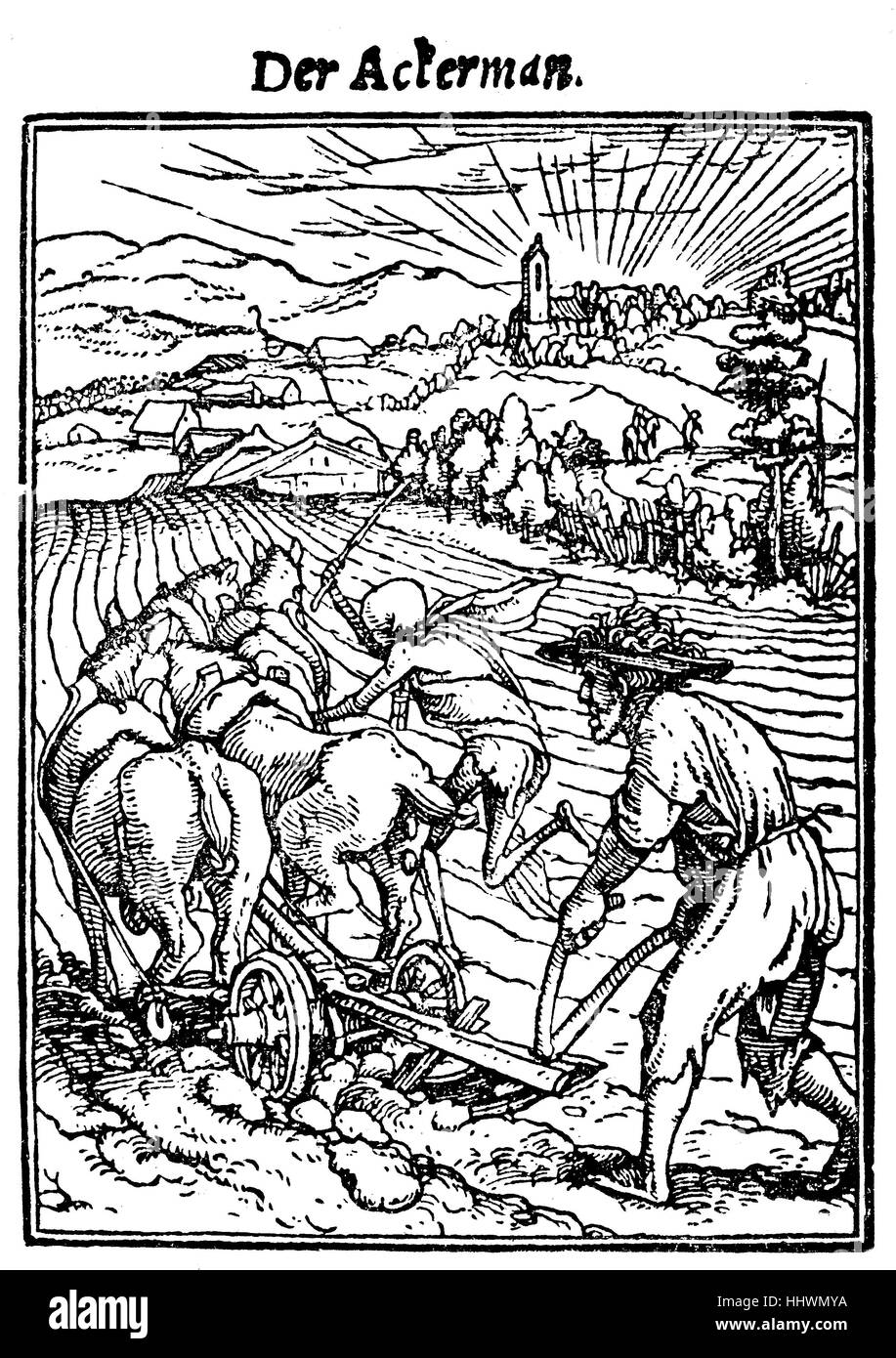 Der Ackerman, Woodcut from the Totentanz by Hans Holbein der Juengere, German Renaissance painter, historical image - Stock Image
