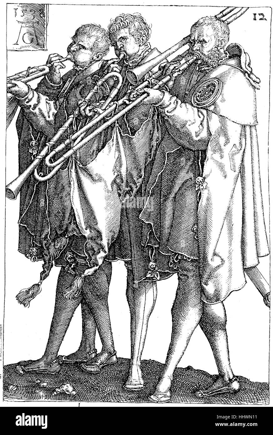 From the copper engraving series (1502-1562) of the wedding dancers, Hochzeitstaenzer, by Heinrich Aldegrever, an - Stock Image