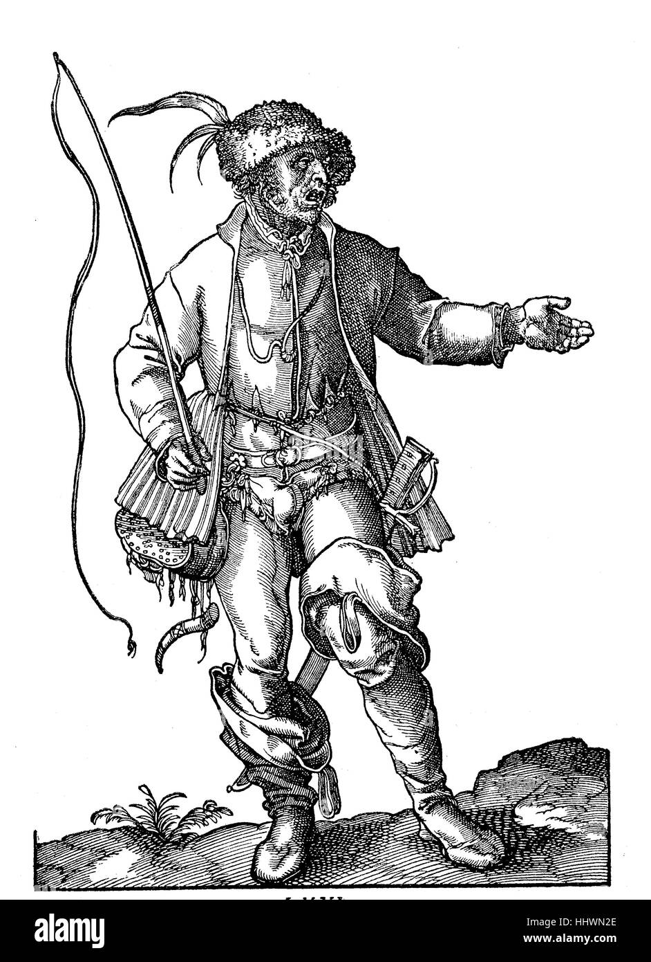 Clothing, costume of a carter or coachman of Flammerspach or Algeier, woodcuts of Jost Amman from Hans Weigels costume - Stock Image