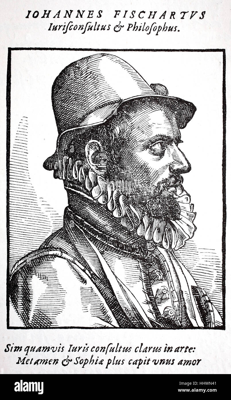Portrait of Johann Baptist Fischart, c. 1545 - 1591, a German satirist and publicist, historical image or illustration, - Stock Image