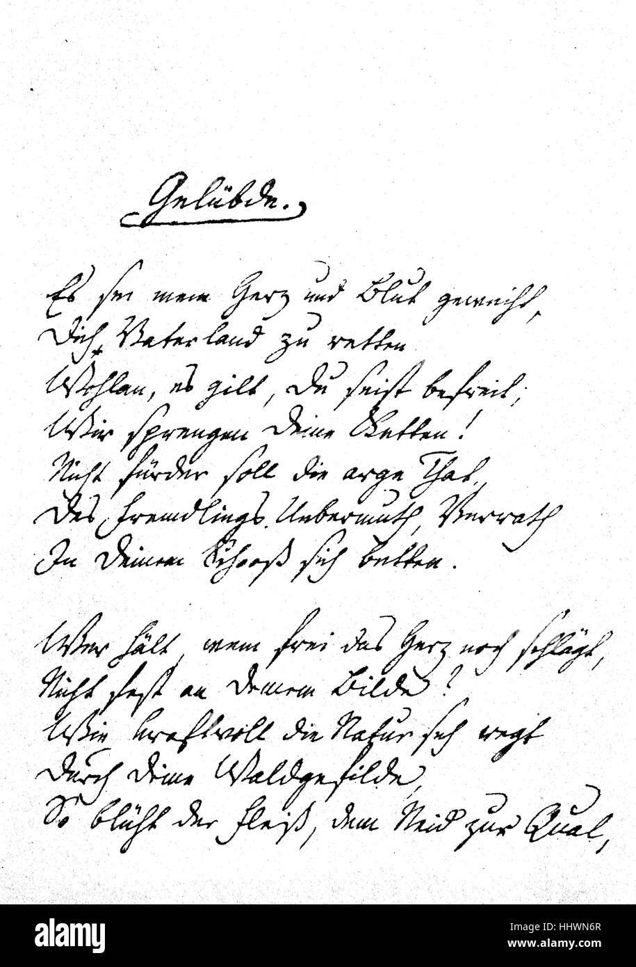 Facsimile of Friedrich Schlegel's inscription of his poem, Geluebde, 1809, Germany,, historical image or illustration, - Stock Image