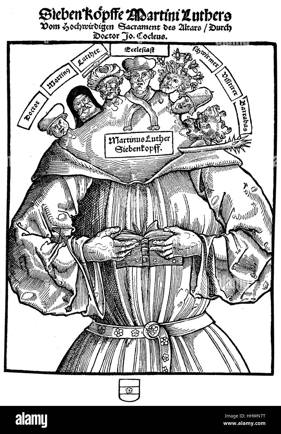 Facsimile, flyer from the Reformation period against Martin Luther, Martinus Luther Siebenkopf, Germany, historical - Stock Image