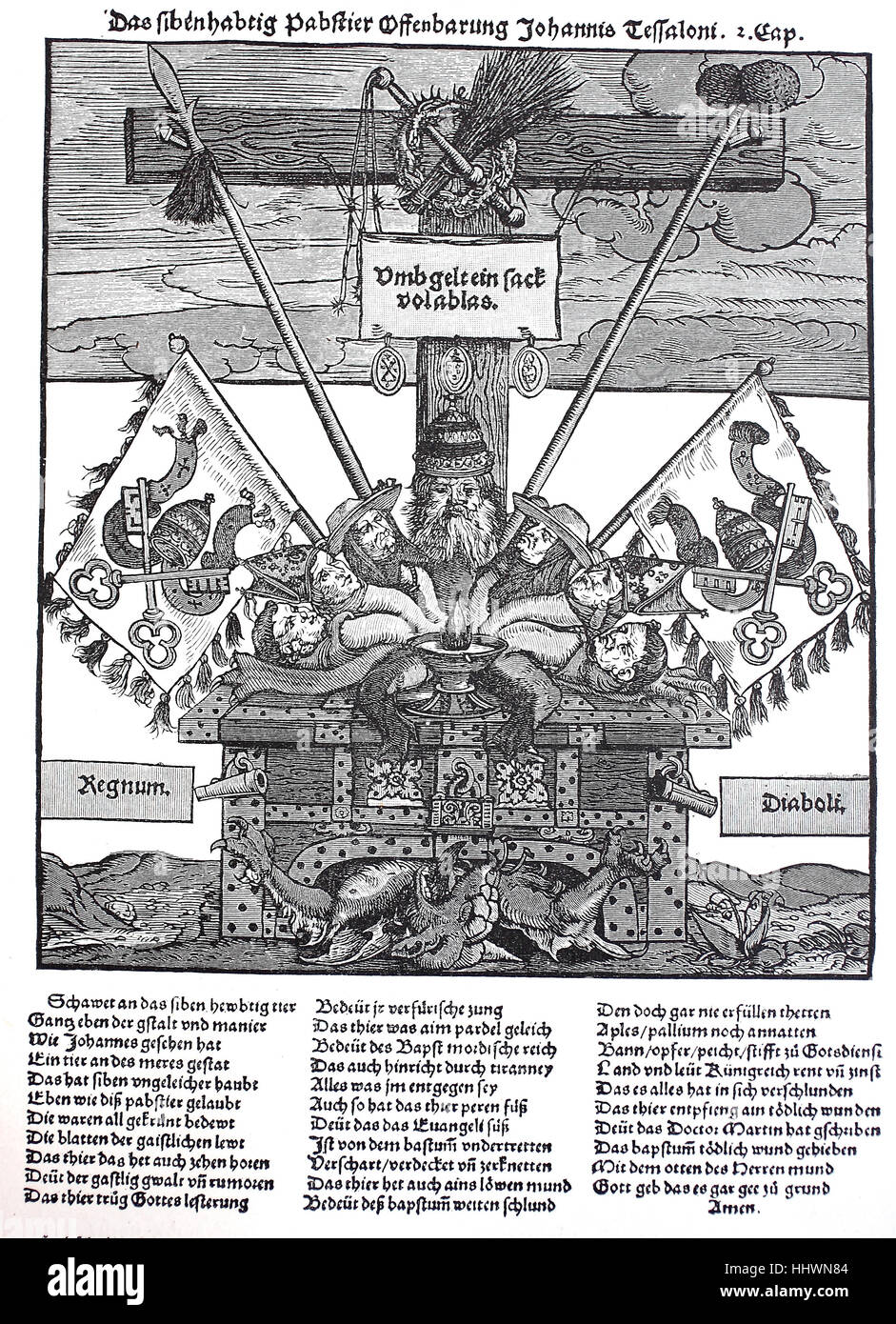 A leaflet in the Reformation period against the indulgence, Woodcut, Germany, historical image or illustration, - Stock Image