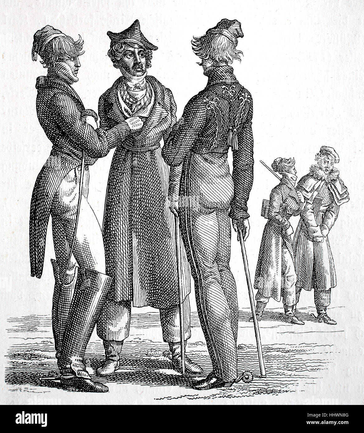 Clothing, costumes of the students around 1820-1830, Germany, historical  image or illustration, published 1890, digital improved