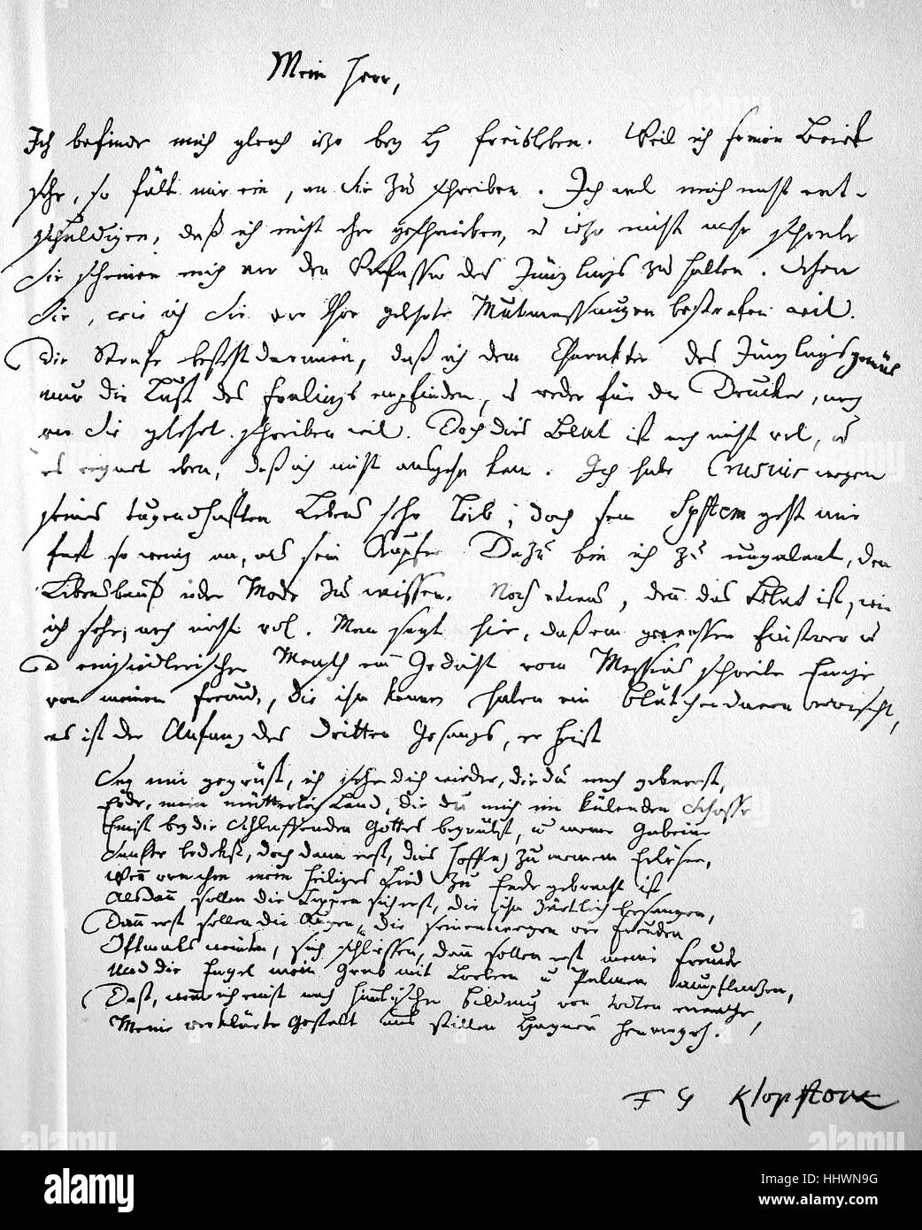 A personal letter from Friedrich Gottlieb Klopstock, written in 1747, with the beginning of the third book of Messiah, - Stock Image