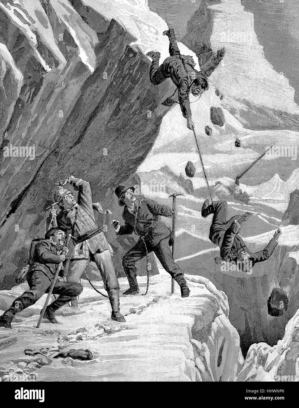 Mountaineers crash, disaster at the Matterhorn, Switzerland, historical image or illustration, published 1890, digital - Stock Image