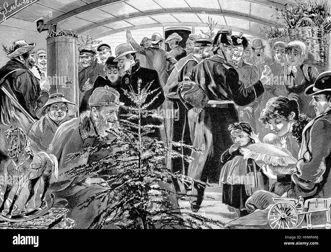 In a railway car of the class IV at the Christmas season, original drawing by G. Luvès, Germany, historical - Stock Image