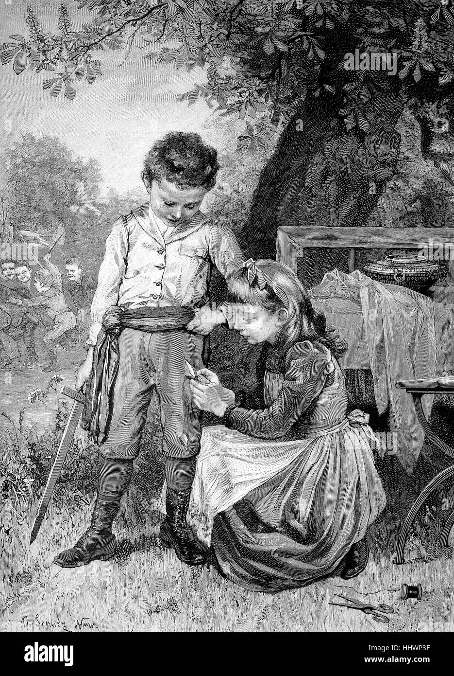 A good sister, sister sews the torn pants of her brother, original drawing by D, Schulz, historical image or illustration, - Stock Image