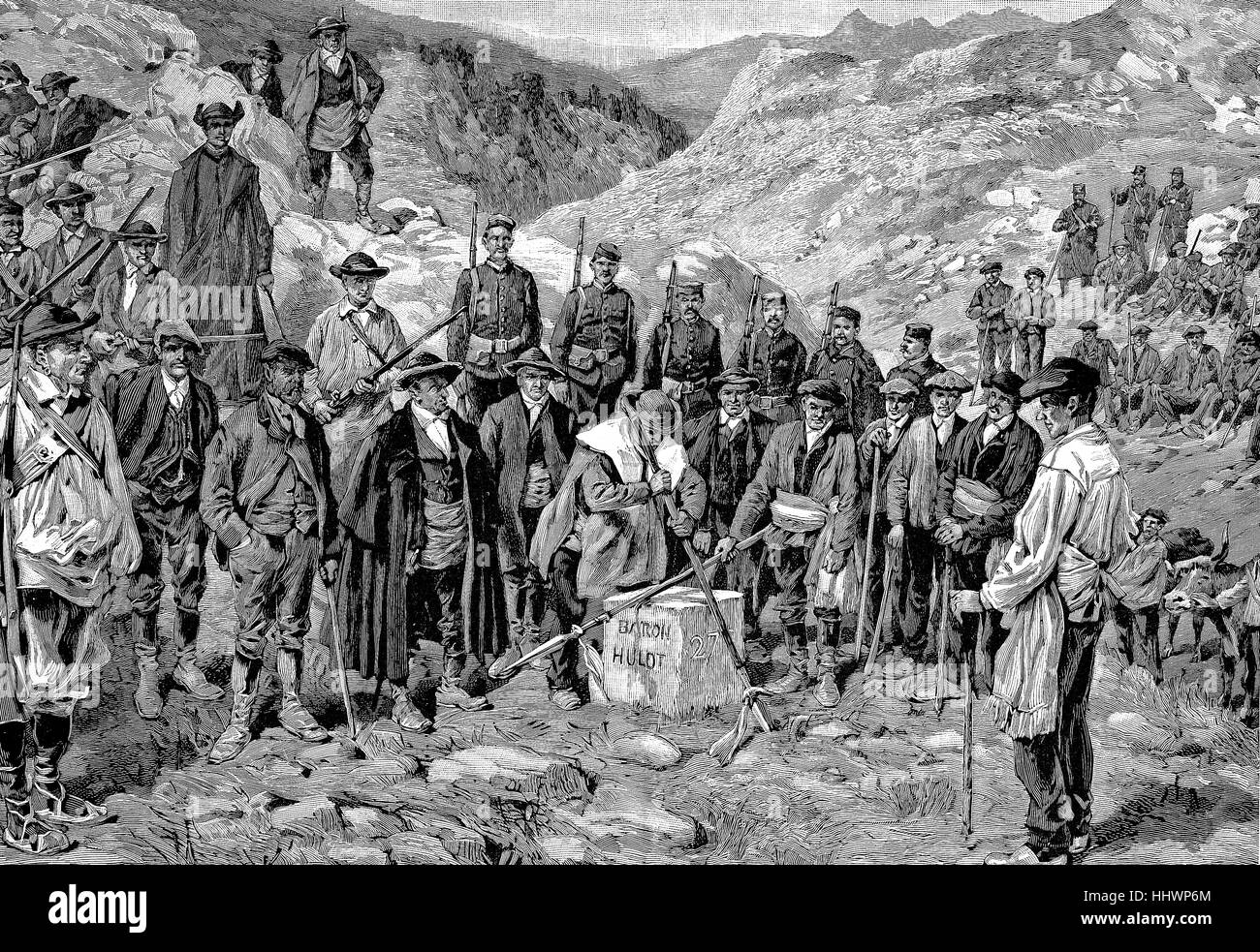 Das Stierlehen, Taurus fief in the Pyrenees, Spain, historical image or illustration, published 1890, digital improved - Stock Image