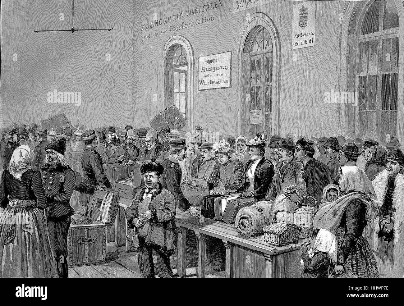 Customs station at the Bohemian-Saxon border in Bodenbach, Bohemia, Czech Republic, original drawing by E. Limmer, - Stock Image