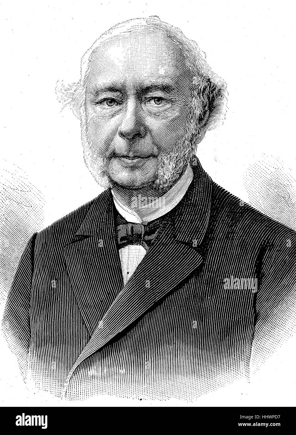 Wilhelm Georg Friedrich Roscher, October 21, 1817 - June 4, 1894, was a German economist from Hanover, historical Stock Photo