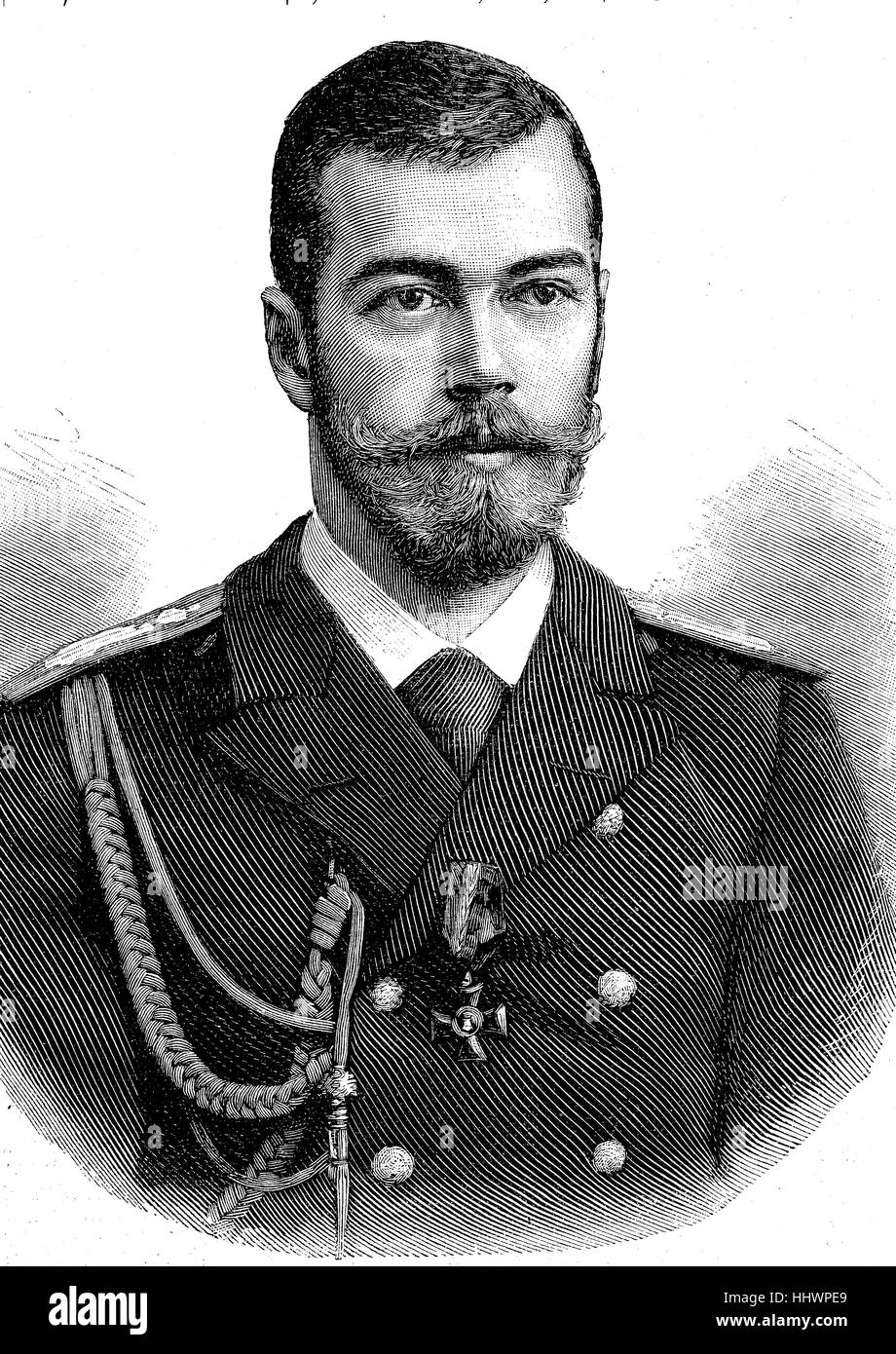 Nicholas II or Nikolai II. Aleksandrovich, 18 May 1868 - 17 July 1918, was the last Emperor of Russia, ruling from - Stock Image