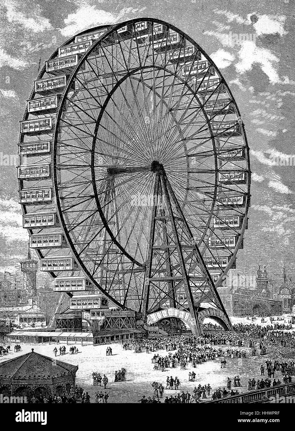 The giant air carousel at the 1893 Chicago World Exhibition, World's Columbian Exposition also featured The Chicago Stock Photo