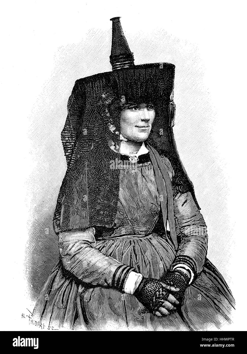 French folklore, Costume of the peasant woman from Bresse, historical image or illustration, published 1890, digital - Stock Image