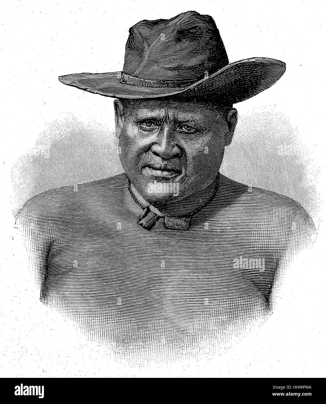 Lobengula, 1833 - January 23, 1894 in Matabeleland, was the second and at the same time the last king of the Matabele - Stock Image