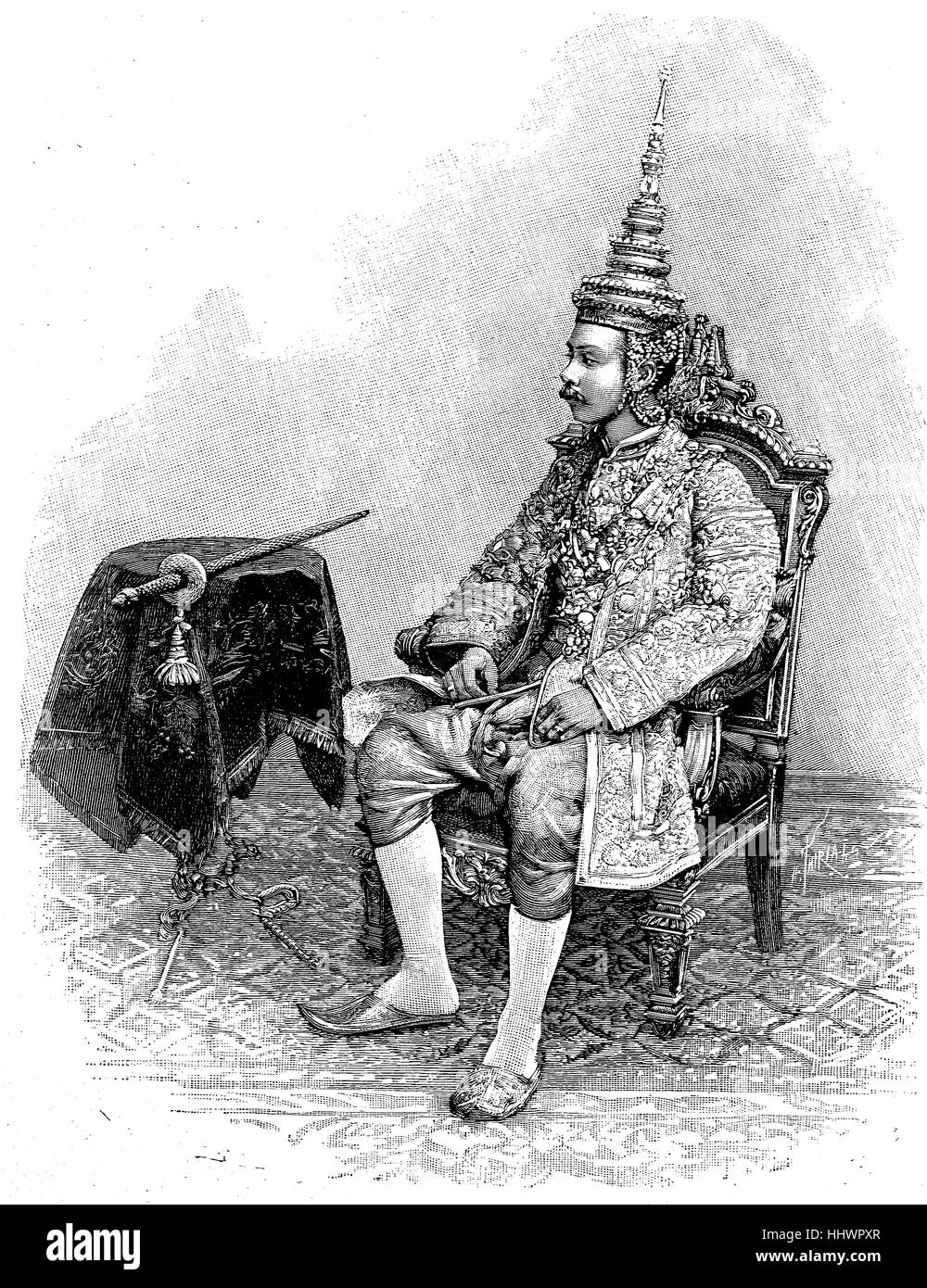 Mongkut or Rama IV, King of Siam in the Ornat, 18 October 1804 in Bangkok, Thailand - October 18, 1868, was king - Stock Image