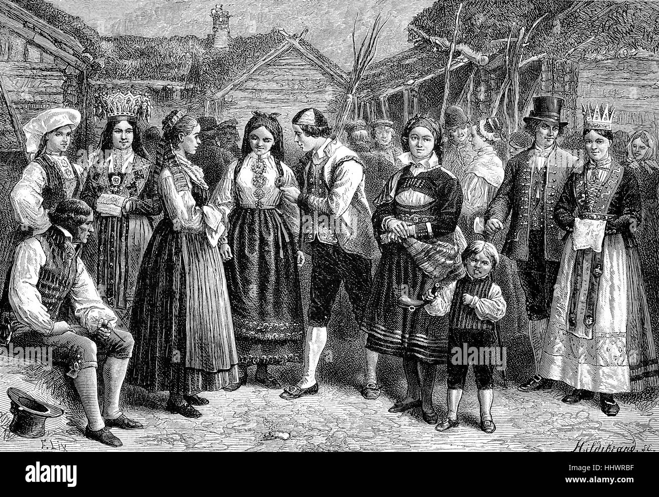 A group in Norwegian folk costumes, Norway, historical image or illustration, published 1890, digital improved - Stock Image