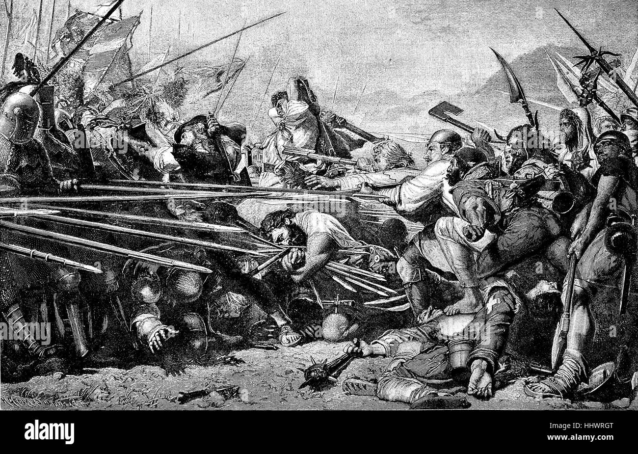 Battle of Sempach, conflict between the Habsburgs and the Swiss during the Swiss Habsburg War, Canton Lucerne, Switzerland, - Stock Image