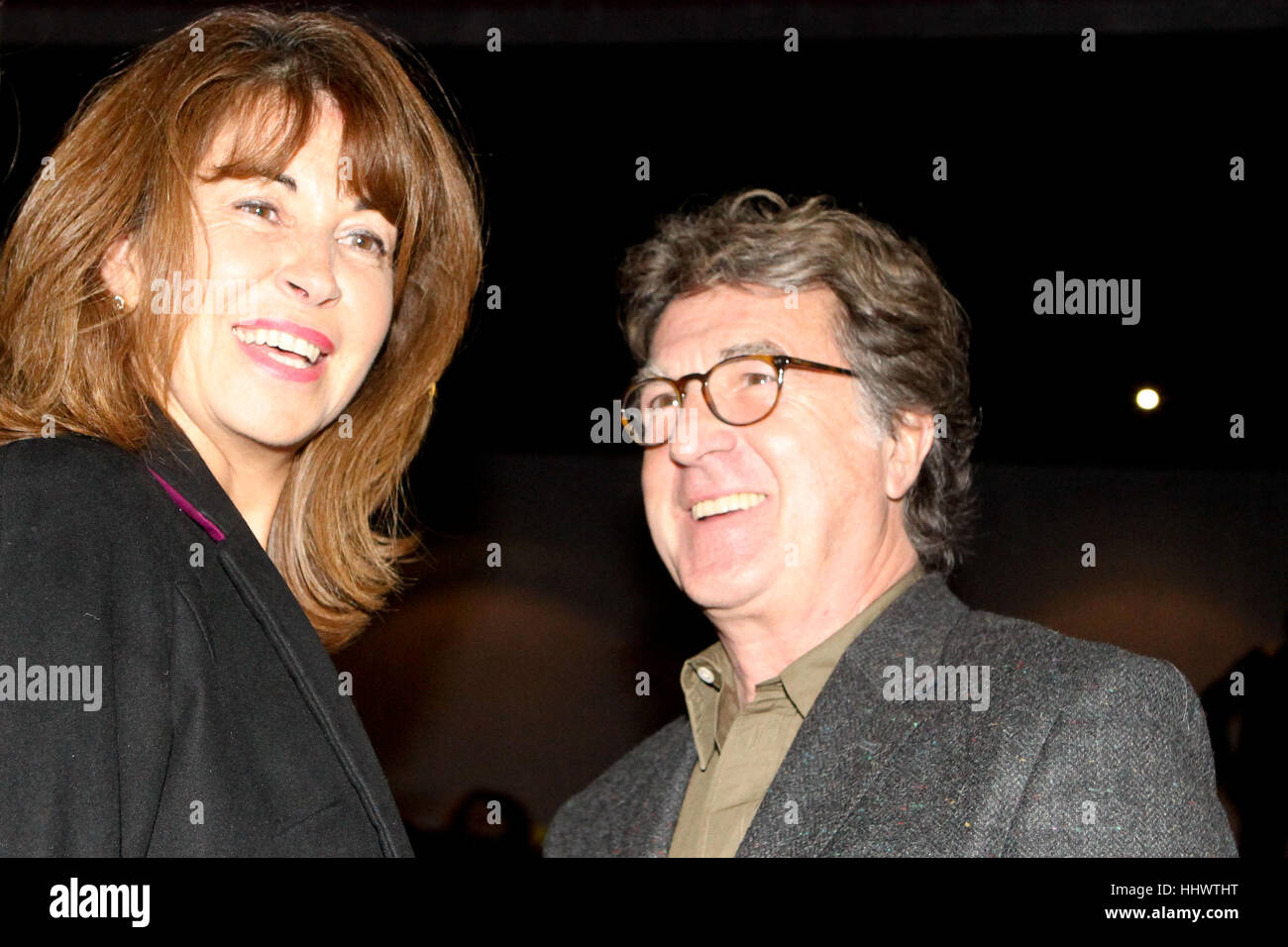 """Francois Cluzet and his wife Narjiss Slaoui-Falcoz attend the premiere of the Greek film """"Eteros Ego"""". Francois Cluzet participates in this film. Stock Photo"""