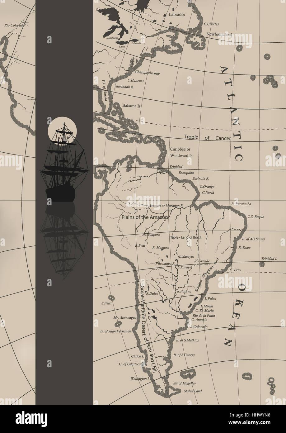 The old sea charts and a sailing ship. - Stock Image
