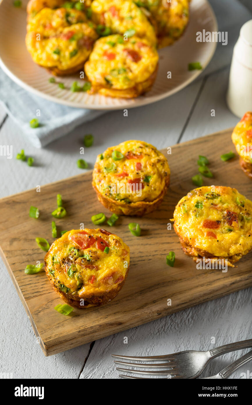 Homemade Healthy Breakfast Egg Muffins with Chives and Tomato - Stock Image