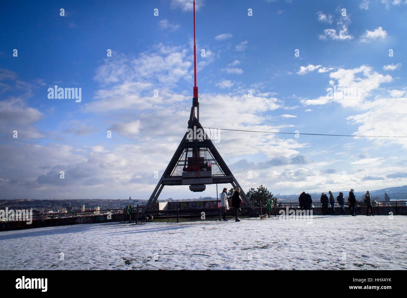 The Prague Metronome in Letna Park - Stock Image