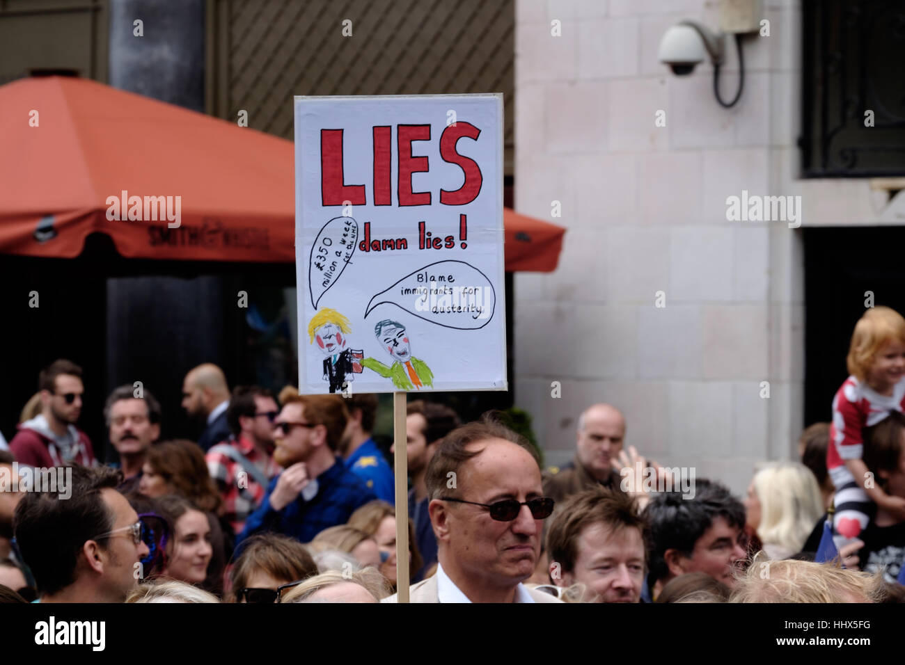 Man carries 'Lies damn lies' protest sign at March for Europe - Stock Image