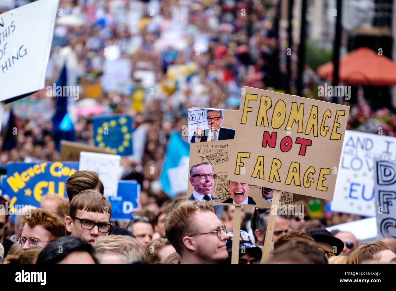 Fromage not Farage protest sign leads sea of demonstrators at the March for Europe - Stock Image