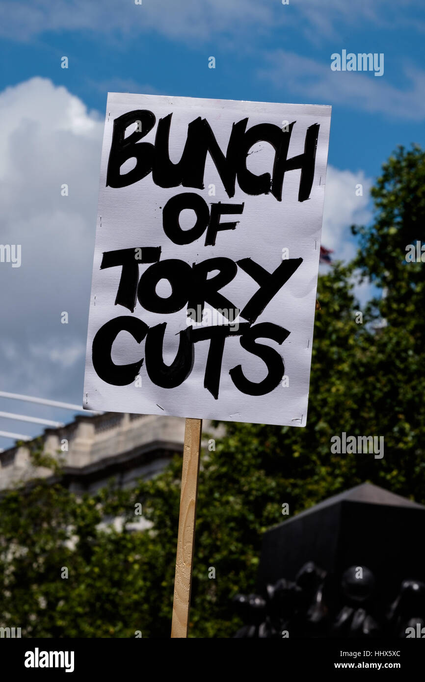 Protest sign bearing the slogan 'Bunch of Tory Cuts' - Stock Image
