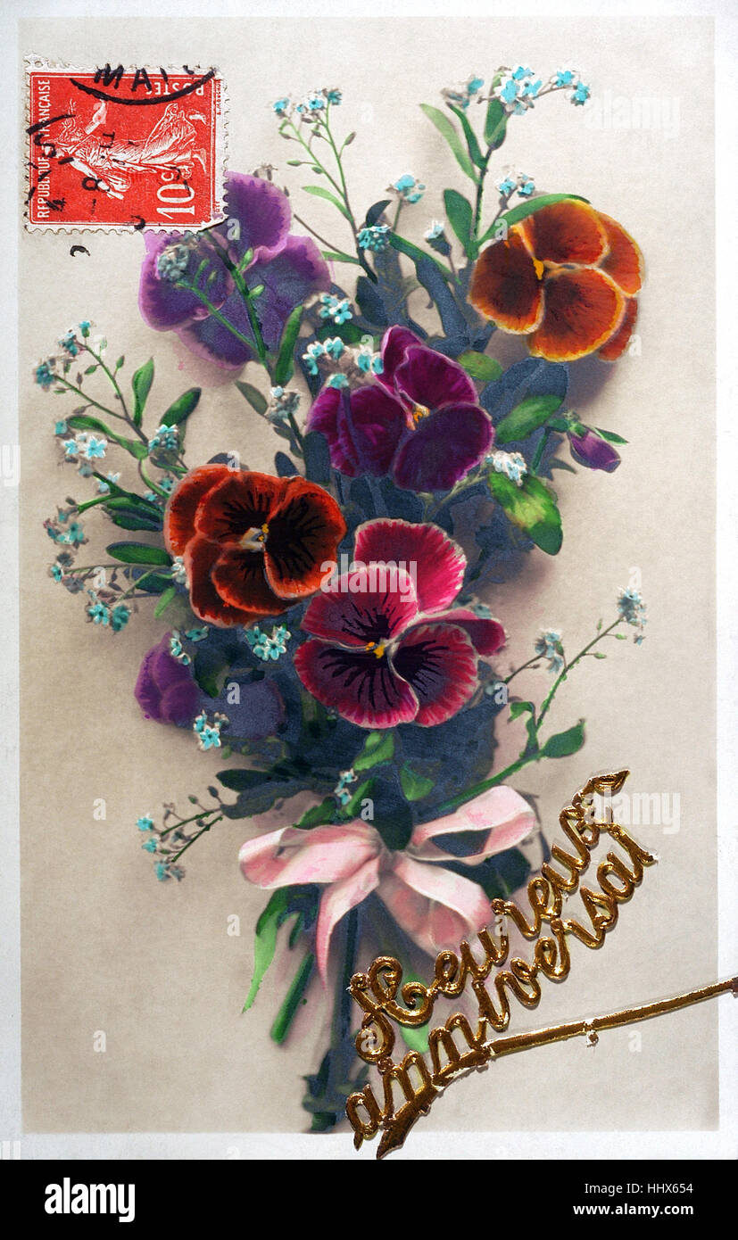 Old Postcard Of Flowers To Wish A Happy Birthday Stock Photo