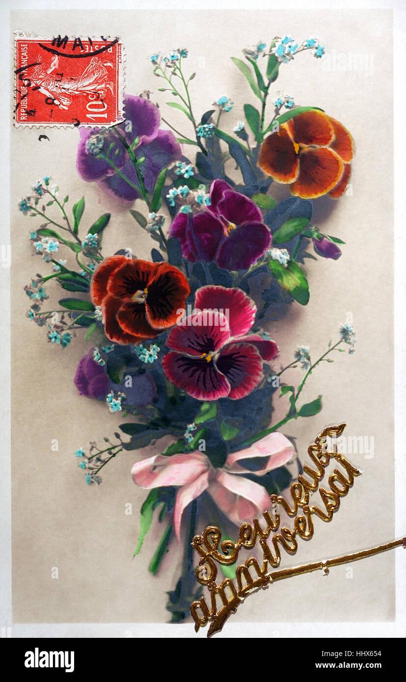 Old postcard of flowers to wish a happy birthday stock photo old postcard of flowers to wish a happy birthday izmirmasajfo