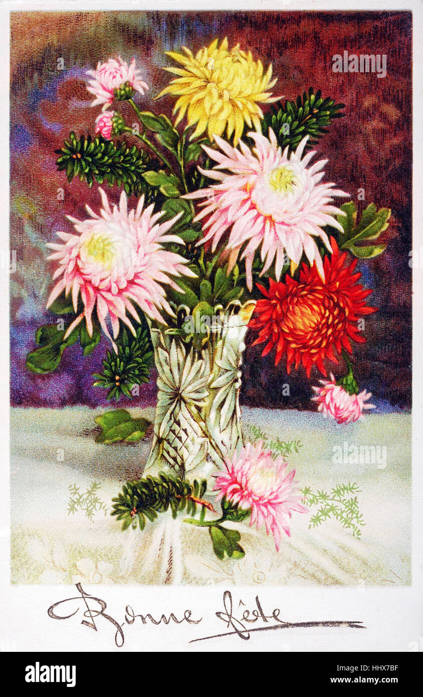 Old postcard with a bouquet of flowers to wish happy feast stock old postcard with a bouquet of flowers to wish happy feast izmirmasajfo