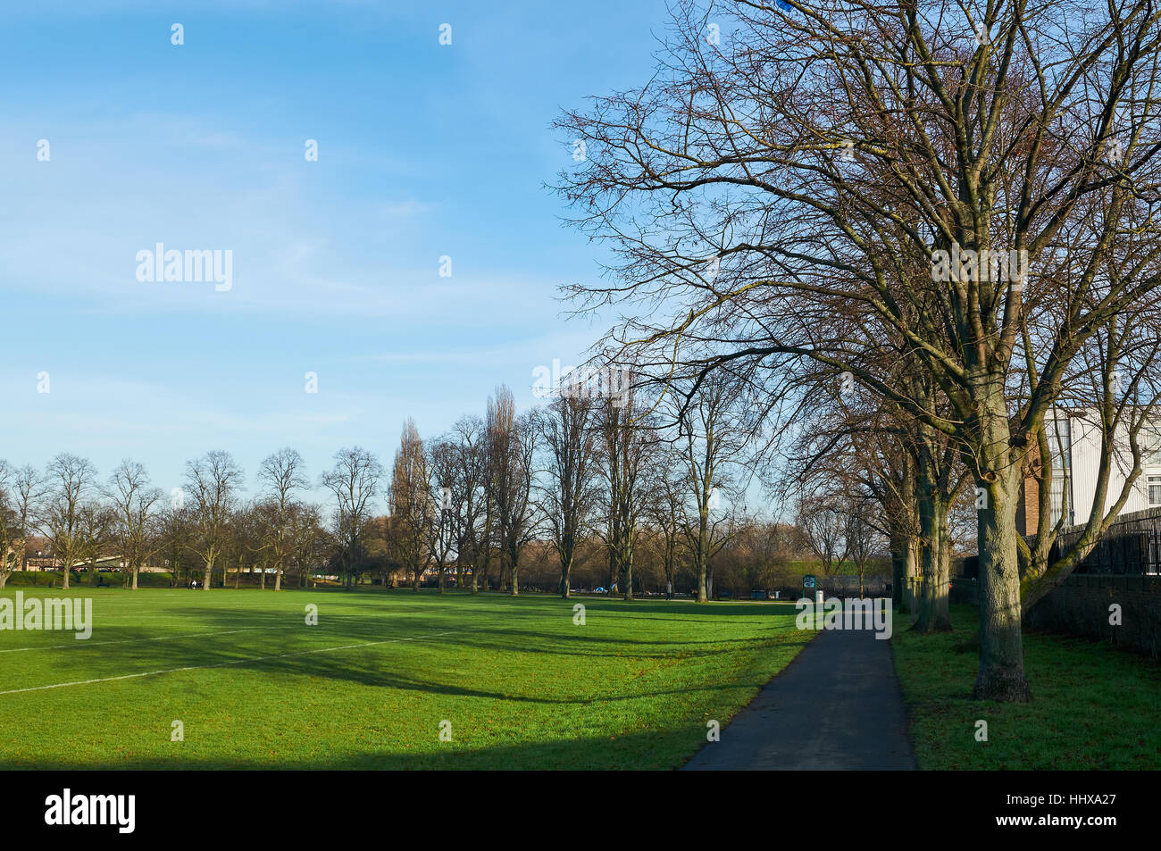 Markfield Park, South Tottenham, London UK, in winter - Stock Image
