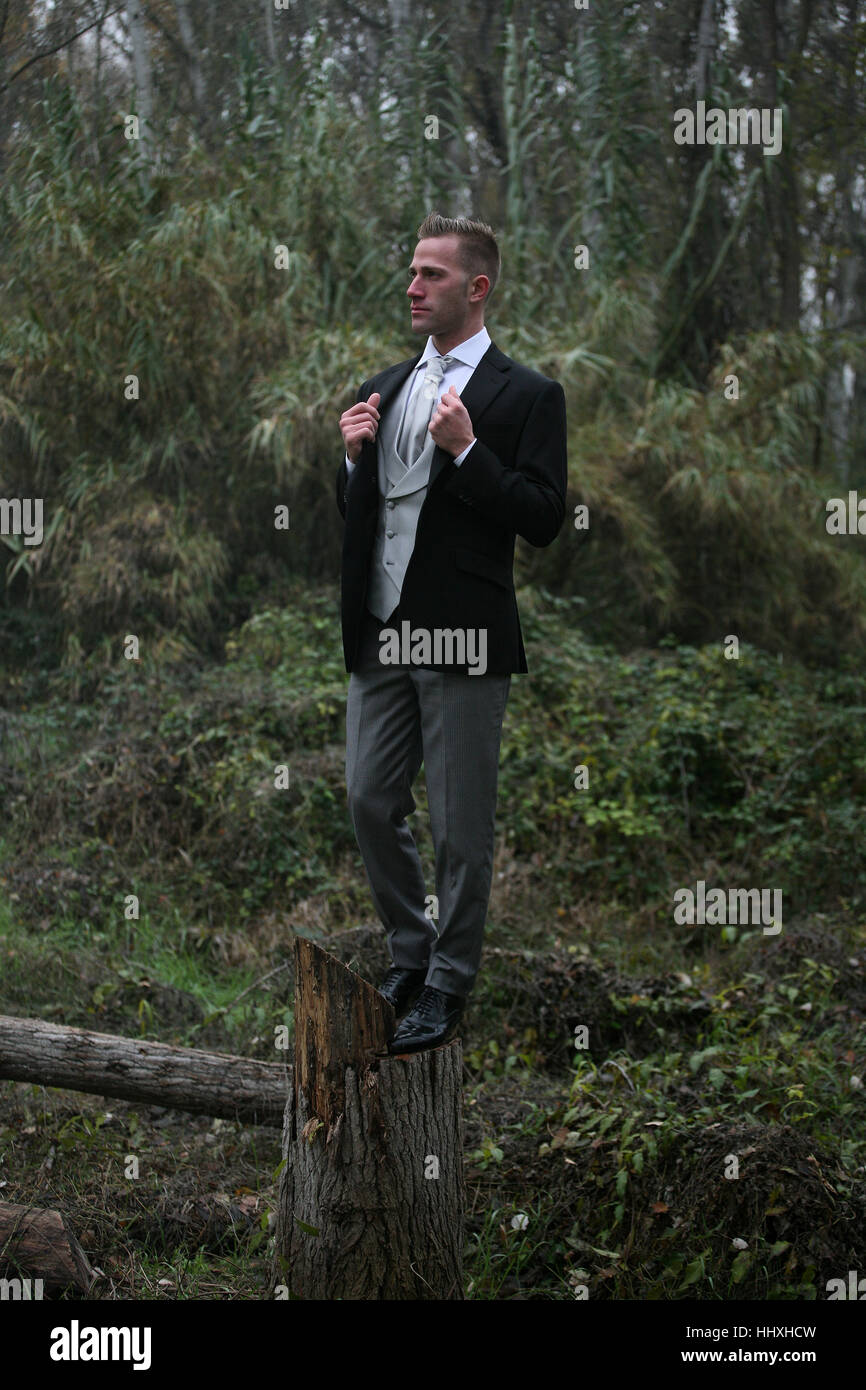 A gentleman in the woods - Stock Image