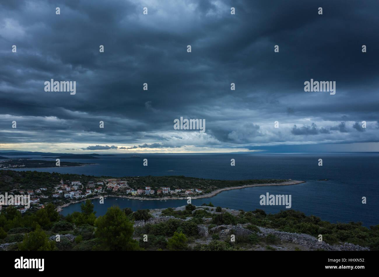 Storm clouds over Adriatic Sea Croatia - Stock Image