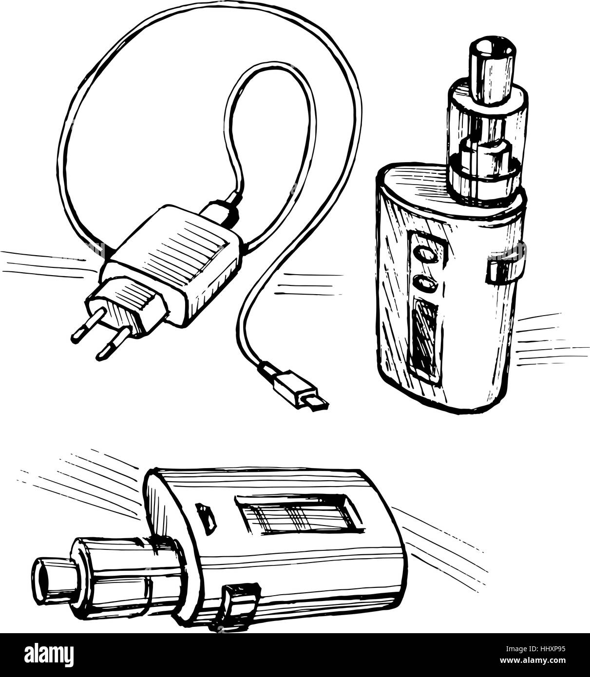 Electronic cigarette USB cable charge - Stock Image