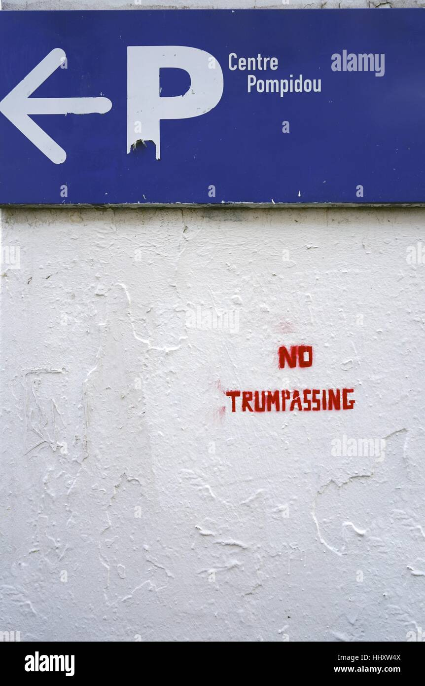 Stenciled message on a wall saying No Trumpassing Stock Photo