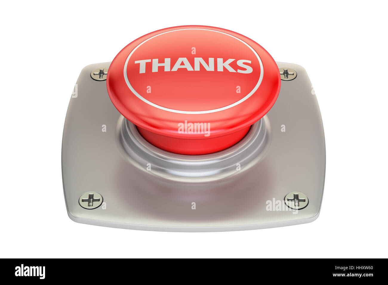 Thanks red button, 3D rendering isolated on white background - Stock Image