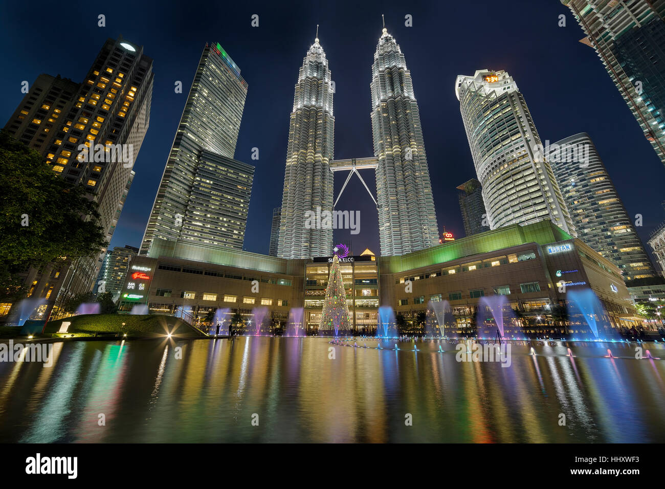 Christmas decoration 2016 at KLCC by Lake Symphony Water Fountain Show at Dusk Stock Photo