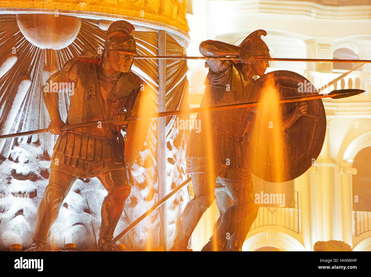 Statues of Macedonian soldiers on monument to Alexander the Great in Skopje city square. - Stock Image