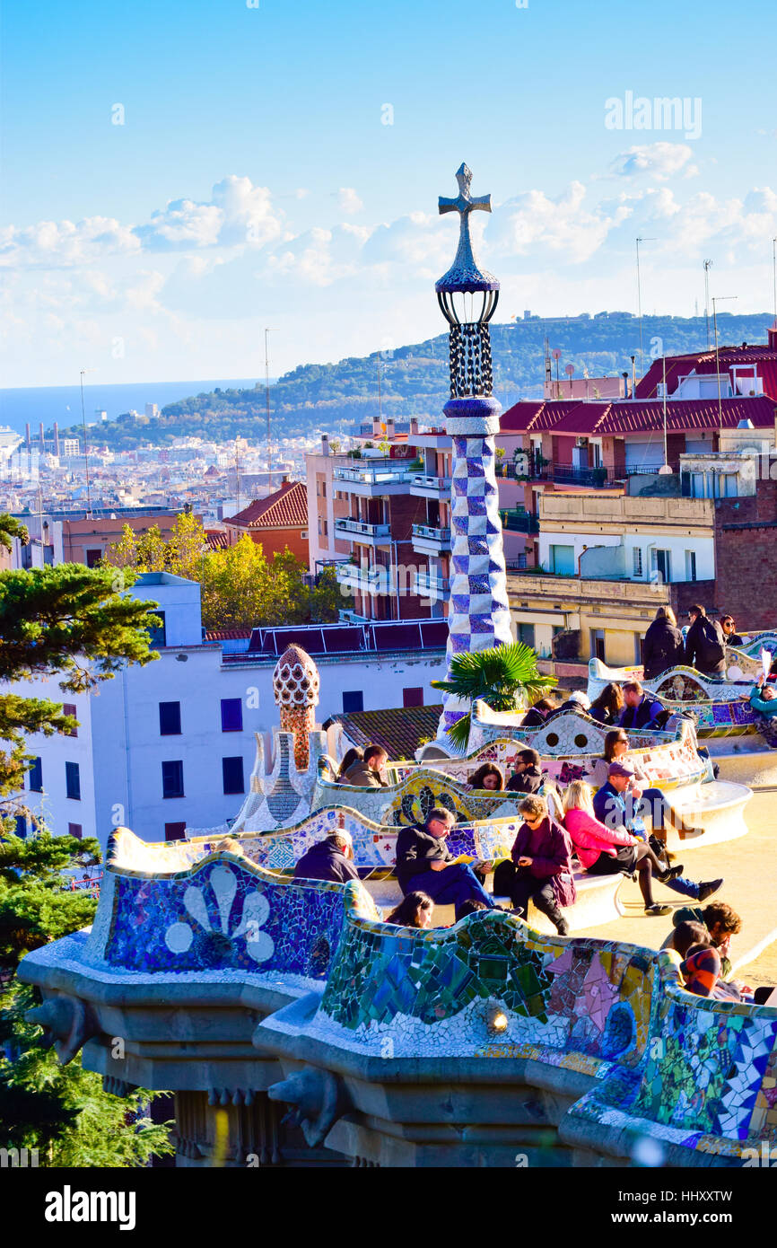Cityscape. Park Guell, Barcelona, Catalonia, Spain. Stock Photo