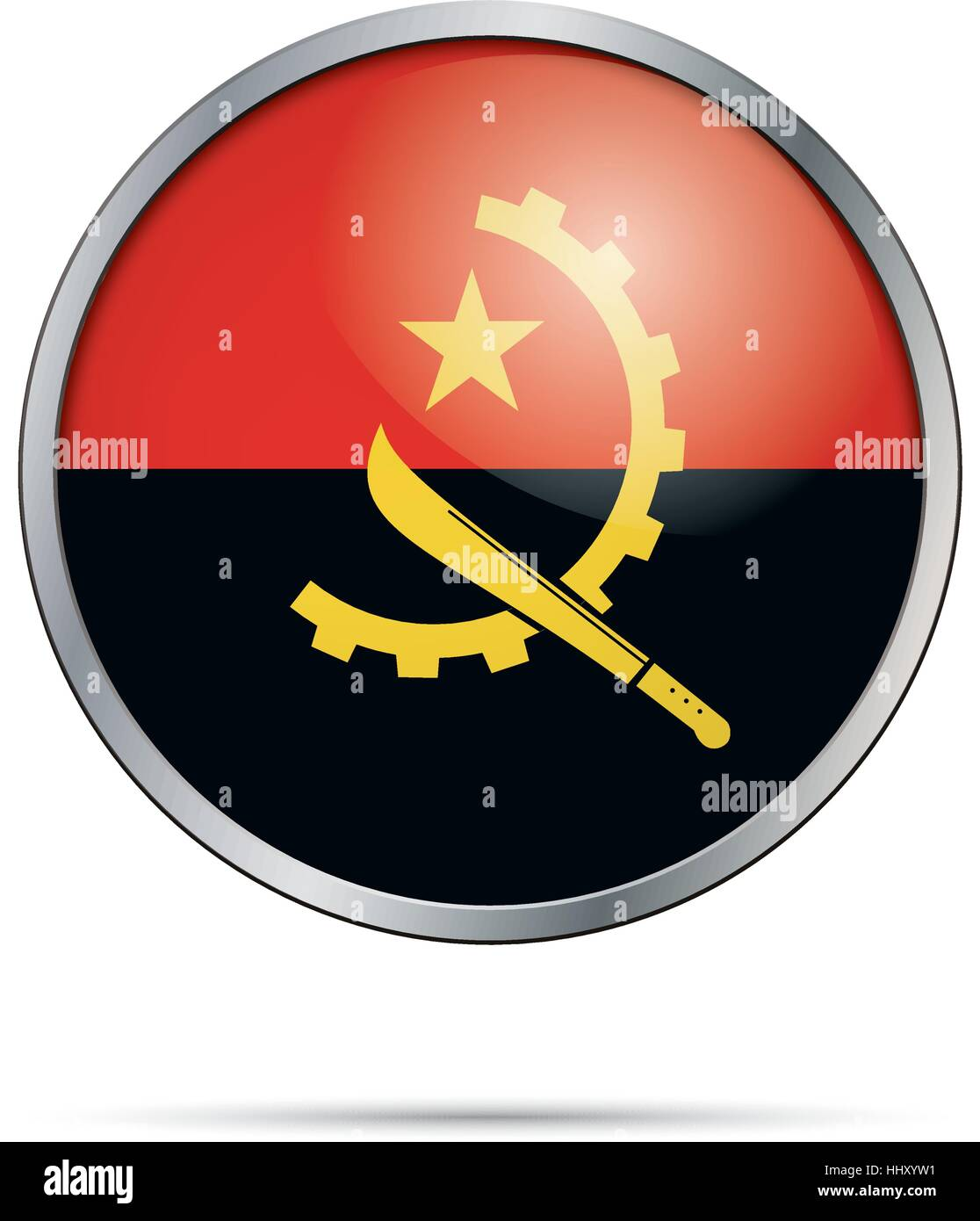 Vector Angolan flag button. Angola flag in glass button style with metal frame. - Stock Vector