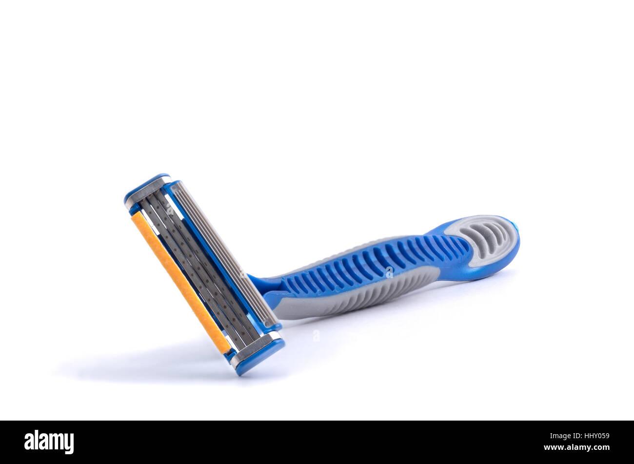 shaving razor tri blade isolated on a white background - Stock Image