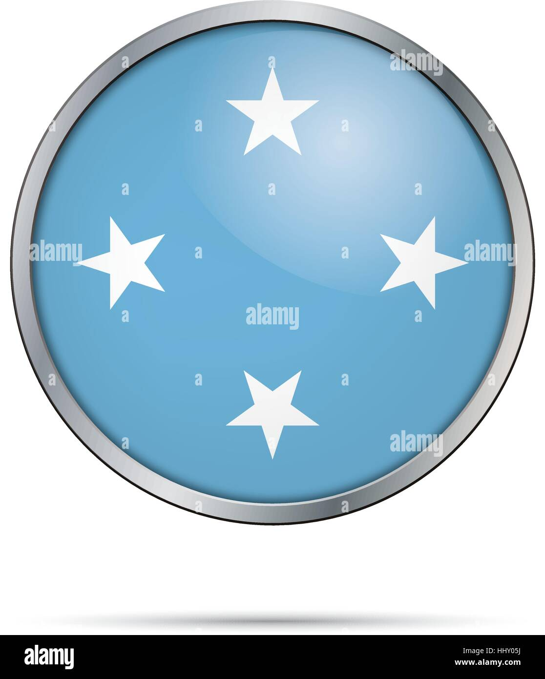 Vector Micronesian flag button. Micronesia flag in glass button style with metal frame. - Stock Image