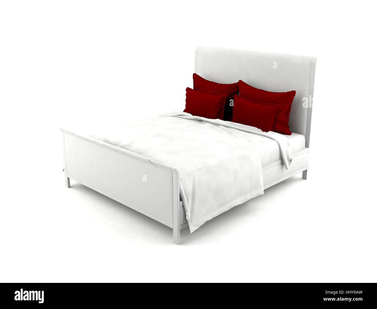 White bed with red pillows - Stock Image