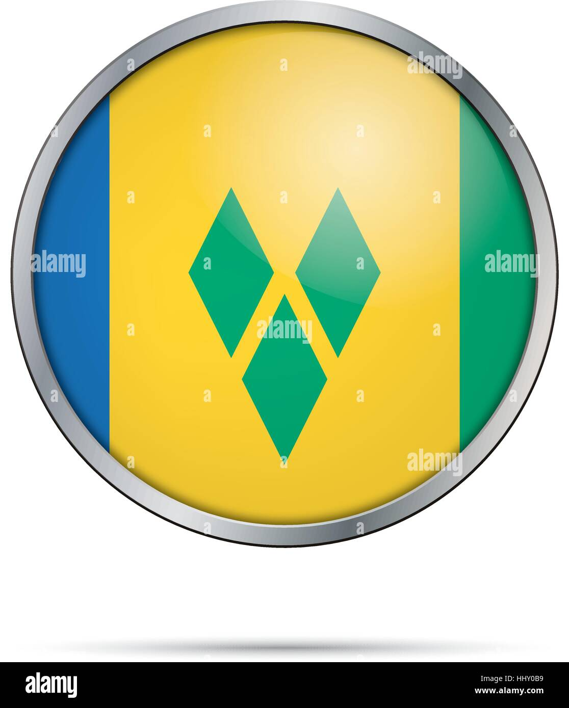 Vector Saint Vincent and the Grenadines flag in glass button style with metal frame. - Stock Vector