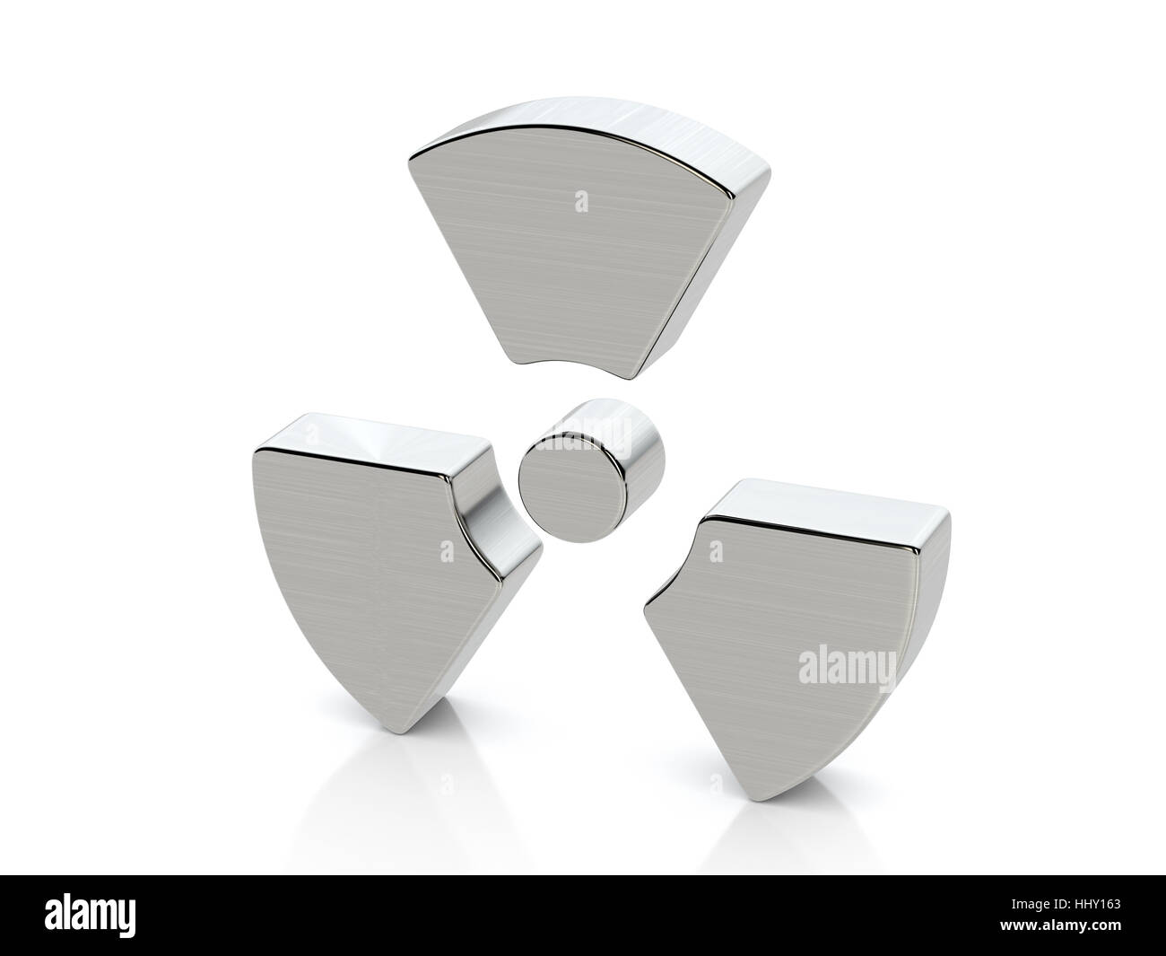 Metallic radiation symbol on a white background. Stock Photo